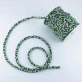 ちりめん丸ひも・小紋調柄・4ミリ(実寸約5-6ミリ) 唐草・緑