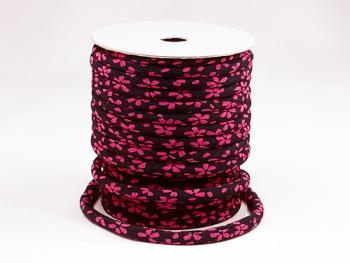 ちりめん丸ひも・小紋調柄・4ミリ(実寸約5-6ミリ) 舞桜・紺