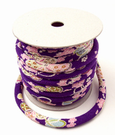 ちりめん丸ひも・柄・8ミリ(実寸約9-10ミリ) 小桜(紫)