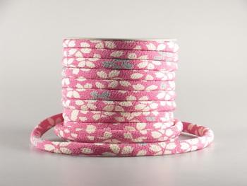 ちりめん丸ひも・柄・8ミリ(実寸約9-10ミリ) 花笑み・ピンク