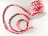 ちりめん丸ひも・柄・8ミリ(実寸約9-10ミリ) 夢椿・赤/濃ピンク