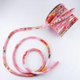 ちりめん丸ひも・柄・8ミリ(実寸約9-10ミリ) 典雅・ピンク