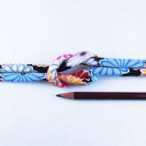 ちりめん丸ひも・柄・8ミリ(実寸約9-10ミリ) 菊並べ・黒