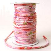 ちりめん丸ひも・柄・3ミリ(実寸約4-5ミリ) 四季花・ピンク