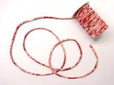 ちりめん丸ひも・柄・5ミリ(実寸約5-6ミリ) 四季花・赤