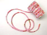 ちりめん丸ひも・柄・7ミリ(実寸約7-8ミリ) 四季花・ピンク