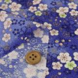 ちりめん生地・梅景色(紺)