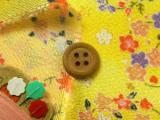 ちりめん生地・花の輪(黄色)