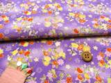ちりめん生地・花の輪(紫色)