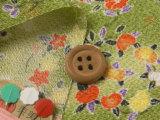 ちりめん生地・花の輪(黄緑)
