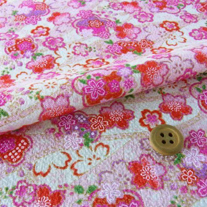 つまみ細工向き柄布ランキング2位ちりめん生地平安桜白/ピンク