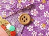 ちりめん生地・波にゆれる小桜(紫)