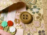 金らん・桜と麻葉の縦縞(ゴールドベージュ)