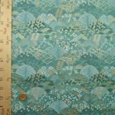 金襴生地(金らん) 柄の青海波(青緑色)