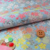 金襴生地(金らん)雪輪に桜と和花(水色)