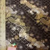 金襴生地(金らん)斜取り扇面桜(黒/グレー)