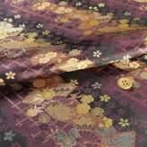 金襴生地(金らん)斜取り扇面桜(深紫/黒)