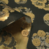 金襴生地(金らん) 金の花丸(黒)