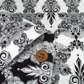 西陣織物 ゴシック調連続柄(白/黒)