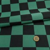 西陣織物 市松柄4.4cm角(黒/緑)
