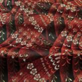金襴生地(金らん) 重なる花の羽根模様(赤/黒)