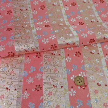 金襴生地(金らん) 縞に観世桜(ピンク)