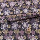 金襴生地(金らん) かごめ模様に満開桜(黒/灰紫)