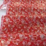 金襴生地(金らん)梅型づくし(赤) 10cm単位 切り売り
