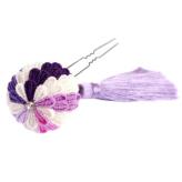 つまみ細工キット・花しごと10/紫の丸い花かんざし(丸つまみ)