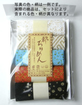 レーヨンちりめん・金銀柄カットクロスセット(22×16.5cmが5枚入)