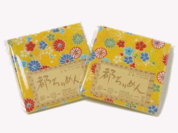 ちりめんカットクロス・彩菊水(黄)23×33cm