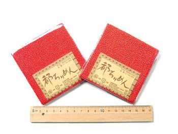ちりめんカットクロス・鮫小紋(赤)23×33cm