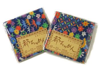 ちりめんカットクロス・花と伝統文様(紺)23×33cm