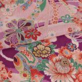 一越ちりめん生地 しぼりに花のし小槌文様(紫)