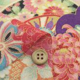 一越ちりめん生地 疋田雲に鶴と菊(紫/くすみピンク)