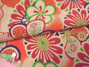 一越ちりめん・菊と梅(オレンジ):カットクロス