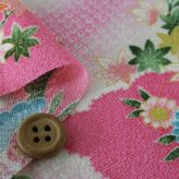 一越ちりめん かのこ雲に百花扇柄(ピンク)