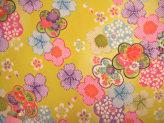 一越ちりめん・梅と桜(黄色):カットクロス