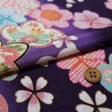 一越ちりめん 梅と桜(紫)