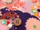 一越ちりめん・花孔雀(紫):カットクロス