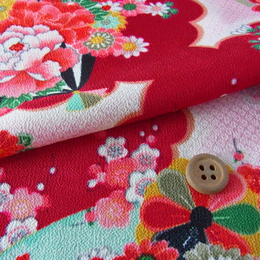 つまみ細工向き柄布ランキング3位一越ちりめん扇に菊と牡丹深紅