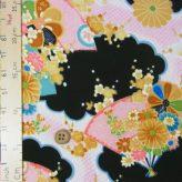 一越ちりめん・扇に菊と牡丹(黒):カットクロス