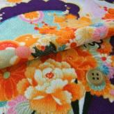 一越ちりめん・扇に菊と牡丹(紫):カットクロス