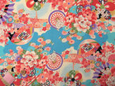 一越ちりめん・水辺の花景色(水色):カットクロス