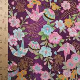一越ちりめん 花と折鶴(紫)
