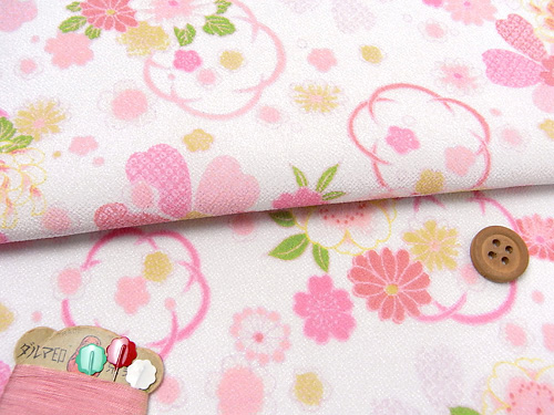 つまみ細工向け切売り布ランキング3位一越ちりめん和花舞白ピンク