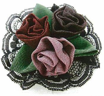 キット・畳へりで作るコサージュ 巻きバラ(ピンク系)