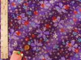 ちりめん生地・金水桜(紫)