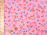 ちりめん生地・梅かごめに花ちらし(ピンク)