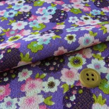 ちりめん生地・桜と雪輪(紫)